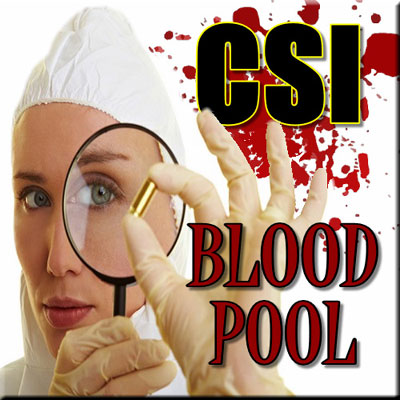 CSI Blood Pool - Thinkers in Education CSI Workshops For Schools. A female forensic scientist looking at a bullet through a magnifying glass - with blood spatter in the background set the scene of this two hour activity.